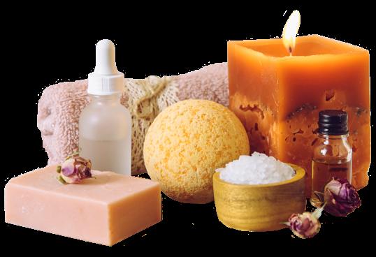 Spa towel, candle, soap, oils, sponge and bath salt
